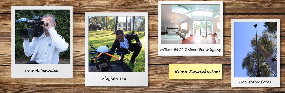 Drei Polaroids mit den Abbildungen einer Flugkamera, Online-Besichtigung und Hochstativ.
