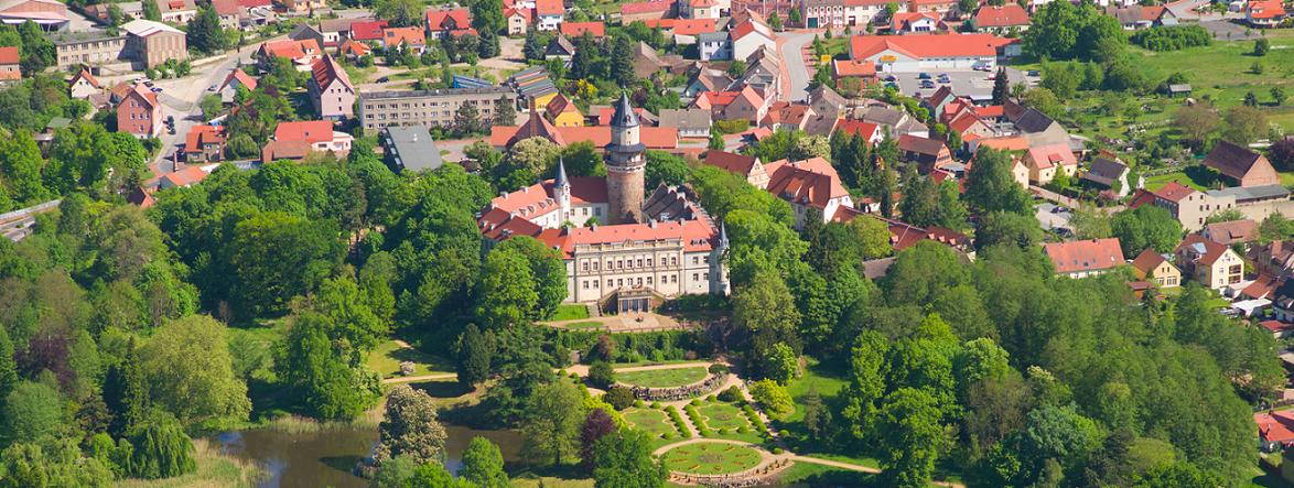 Vogelperspektive vom Schloss Wiesenburg